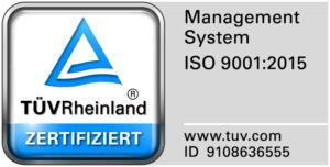 TÜV Rheinland certified: ISO 9001:2015